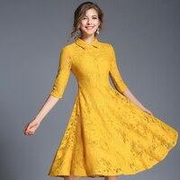 Autumn New Elegant Women Lace Dresses Ladies Hollow Out High Waist Yellow Robes Plus Size Vestidos de Festa Pink Dress N609YS