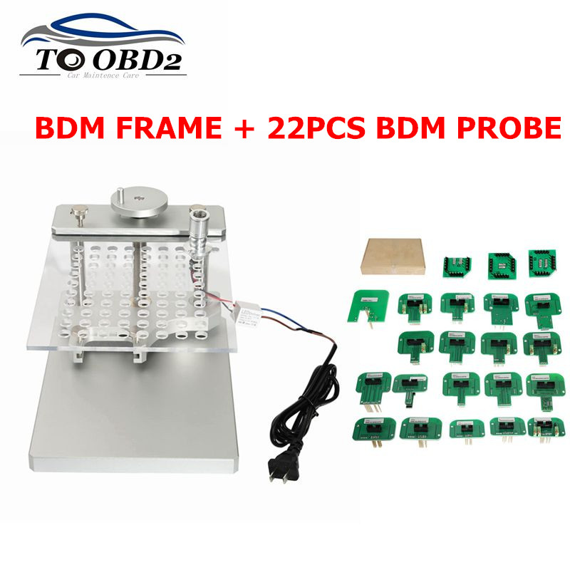 2019 Stainless LED BDM Frame 22 Adapters ECU Chip Tuning Tool For CMD 100 Full Sets