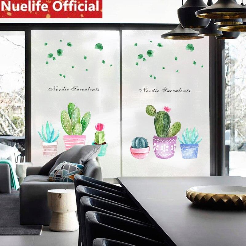 58x120 cm coloré cactus motif fenêtre film salon chambre salle de bains balcon porte verre film N4