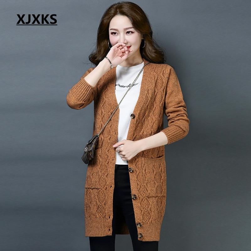 XJXKS new arrival streetwear fashion solid color women sweater coats female high end womens cardigan long