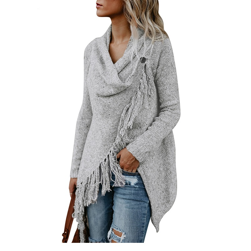 Women Baggy Cardigan Coat Tassel Knitted Shawl Irregular Wrap Top Blouse Sweater