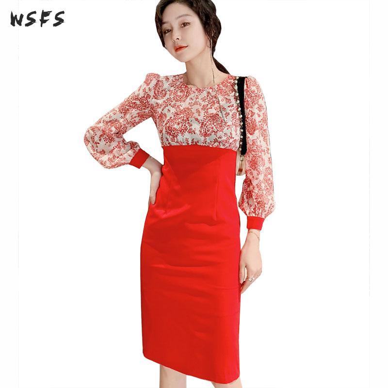 Printemps robes en mousseline de soie rouge à manches longues lanterne femmes robe élégant Vintage Bandage moulante parti bureau dames Wrap robe crayon