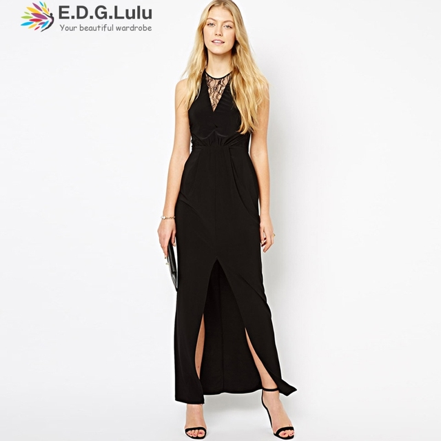 Maxi Dress Sexy Casual Beach Party Elegant Long Black Sleeveless