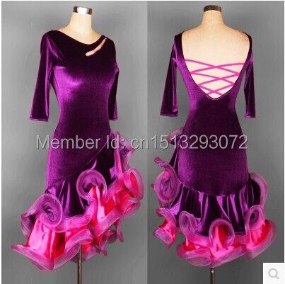 2018 New Latin Dance Dress Vuxen / Barn Anpassa Storlek Dubbel / Singel Ärm Beyonce Ballroom Rumba Samba Cha Cha Kostym