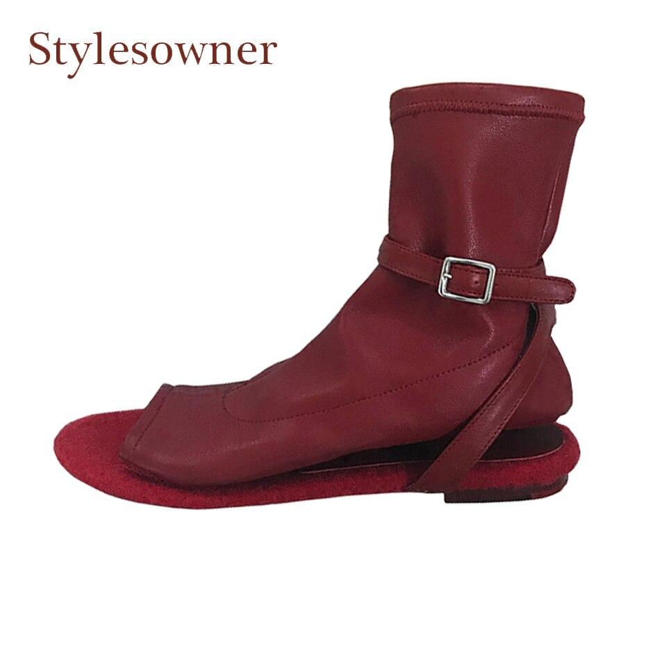 Stylesowner vino rosso donne del cuoio genuino stivali peep toe hook loop tacco piatto gladiatore sandali stivali mujer zapatos scarpe casual