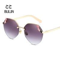 BULUN New Oversized Rimless Women Brand Design Diamond Decoration Coating Sunglasses Metal Frame Mirror Lens Sun