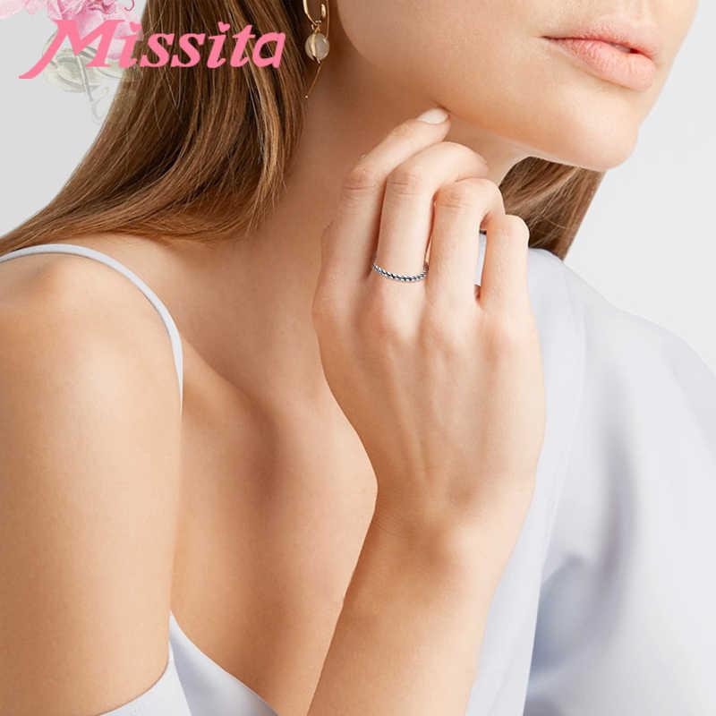 MISSITA 100% стерлингового серебра 925 Твист обёрточная бумага кольца для женщин Свадебные брендовые модные ювелирные изделия подарок для девочек Mujer