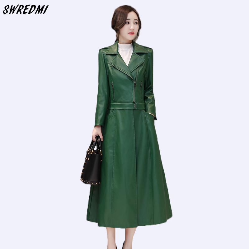 SWREDMI Autumn And Winter Women   Leather   Trench X-Long   Leather   Clothing Female Plus Size S-3XL Office Lady   Leather   Coat Casaco