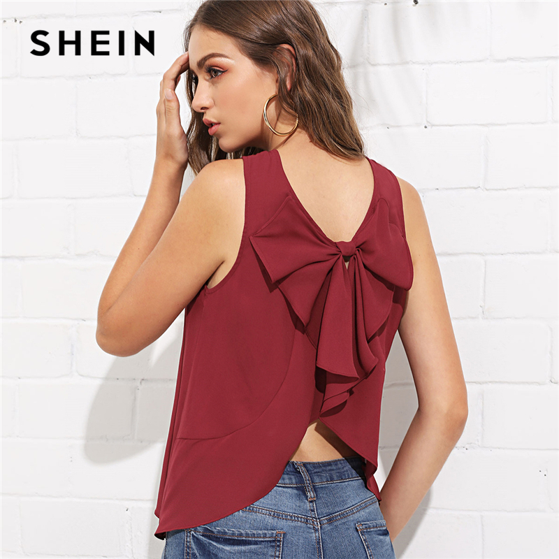 SHEIN Burgundy Elegant Bow Knot Curved Back Shell Round Neck Sleeveless Solid Blouse Summer Women Weekend Casual Shirt Top