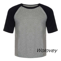 Wolovey#20 2017 New Style Men's Solid O-Neck T-Shirts Half Sleeve Baseball Top Blouse Simple Style Modest Breathable 0512