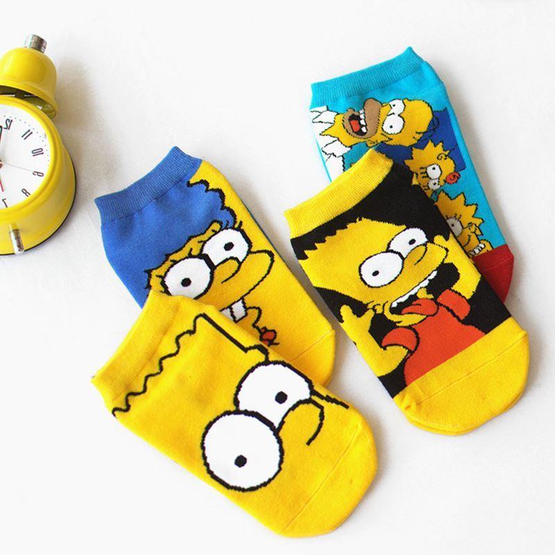 LIONZONE Women Cotton Cartoon Cute Fashion Funny   Socks   Simpson Boat   Socks   Novelty Invisible Happy   Socks   Hot Sale