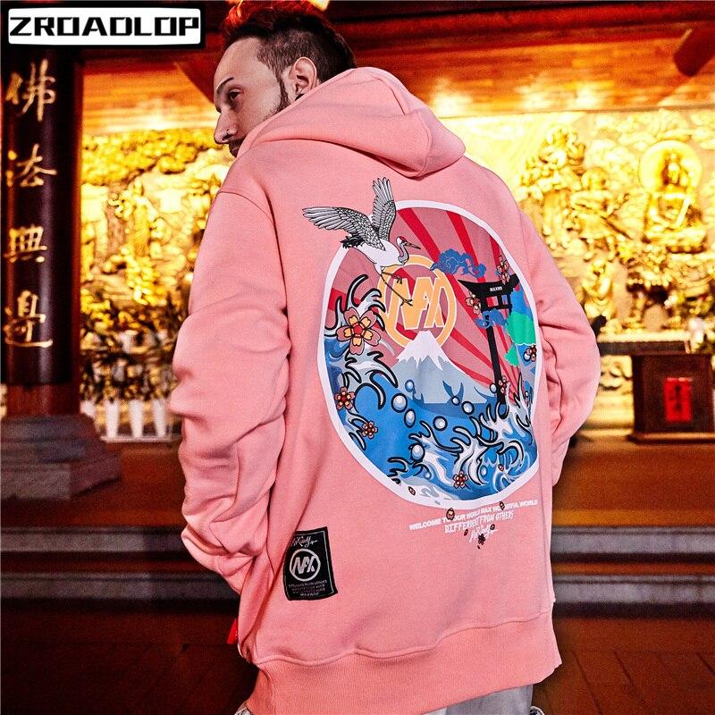 Lana Azul Mujeres Hop Rosado Las Japoneses Los Bordado Rosa Hip 2019 Capucha Jersey Casual azul Streetwear Con Grúas Hombres Marino Sudaderas De 0qRvT