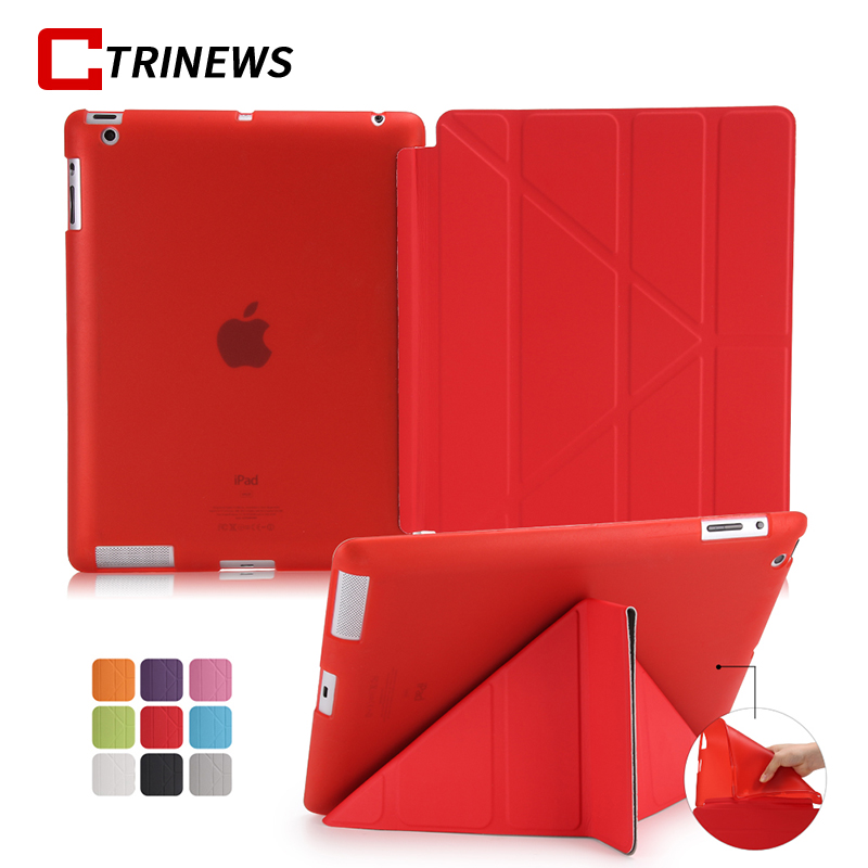 CTRINEWS Transparent Silicon TPU Case For New iPad 2018 2017 Smart Flip PU Leather Stand Cover For iPad A1822 A1823 Tablets Case