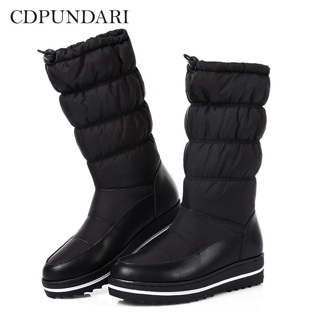 CDPUNDARI Down Plush Snow Boots Women Ankle Boots Ladies flat winter platform boots Black White platform bowkont flocking snow boots