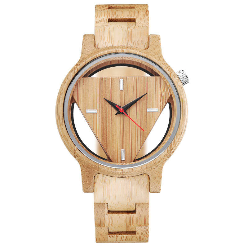 Natural Wooden Case Unique Triangle Dial Cool Minimalist Skeleton Luxury Wood Watch For Men Women Vintage Gift