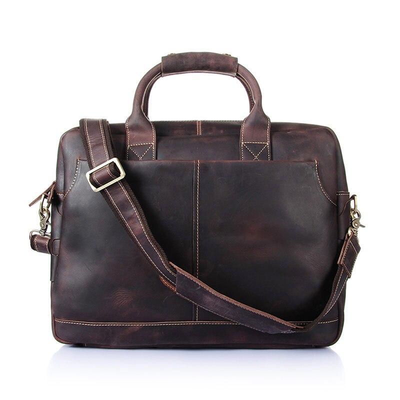 Nesitu de alta calidad Vintage marrón grueso Caballo Loco cuero hombres maletín portafolio de cuero genuino hombres bolsos de mensajero M8013 - 2