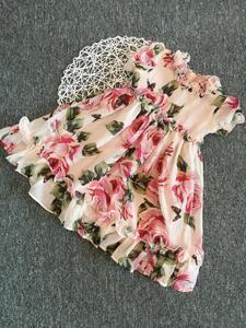 Image 2 - Letni kwiat dziewczyna Tutu róża jedwab 3D sukienka dzieci księżniczka sukienka ze sztucznego jedwabiu wesele urodziny dziecka dziewczyna sukienka z nadrukiem dla dziecka