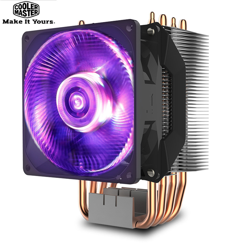 Cooler Master T410RGB 4 heatpipe CPU Cooler for LGA 1155 1156 AMD AM4 Quiet 92mm RGB 4pin PWM fan PC CPU cooling radiator fan promotion hot 92mm x 25mm 24v 2pin sleeve bearing cooling fan for pc case cpu cooler