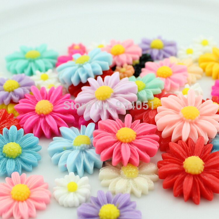 Set of 100pcs assorted Flower Flatback Daisy Bloom Cab Cabochons 9-26mm for Cell Phone Decor, Hair Accessory, DIY Free Shipping