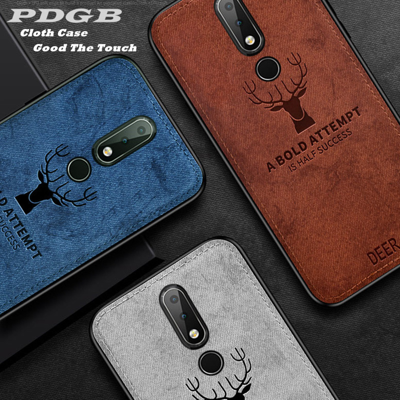 PDGB Rugged TPU Case for <font><b>Nokia</b></font> 7 Plus 7.1 8.1 5.1 <font><b>6.1</b></font> Plus Cover <font><b>Nokia</b></font> X7 X6 X5 Fashion Cloth Pattern Cover Elk Deer Shell image