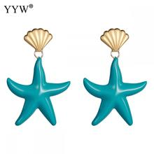 Trendy Starfish Earrings Blue Red Color Summer Statement Costume Party Jewelry Gift For Women 2019 Candy Fashion
