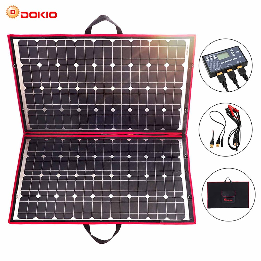 Dokio 18V 100w Solar Panel 12V Flexible Foldble Solar Charge mobile phone usb Outdoor Solar Panels