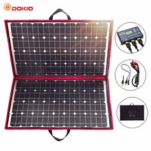 Dokio 18V 100w Solar Panel 12V Flexible Foldble Charge mobile phone usb Outdoor Panels For camping/Boats/Home