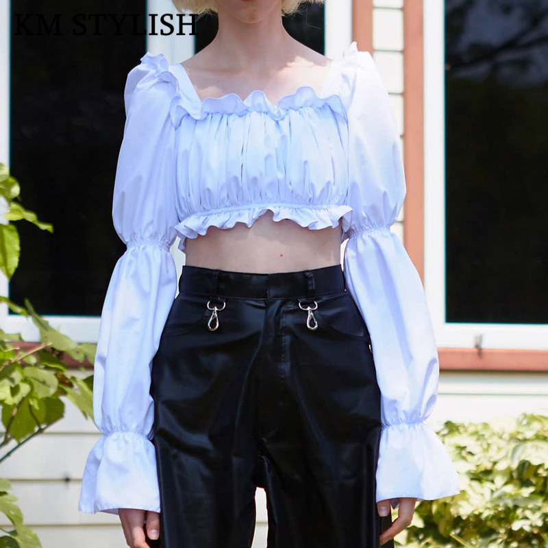 Hot autumn women's Top new multi-color Flare Sleeves Square Collar Lace Pleated Tube Top long-sleeved T-shirt