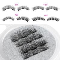 1 Set Handmade Full Coverage Triple Magnetic False Eyelashes Soft Cross Long Magnet Eye Lashes Extension Beauty Makeup Tools False Eyelashes