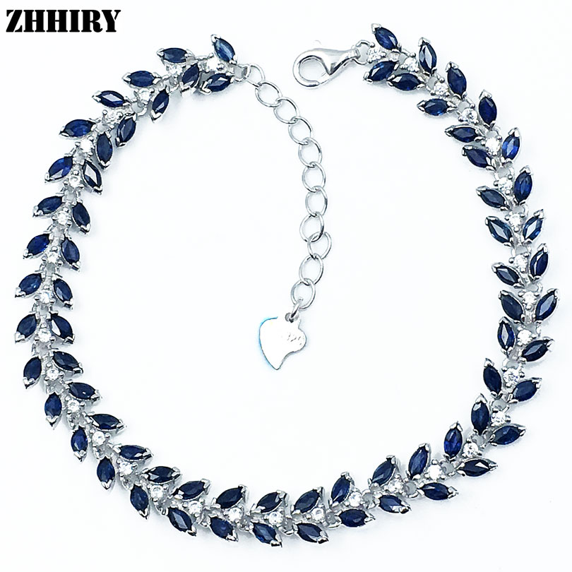 ZHHIRY Natural Sapphire Gem Stone Bracelet Deep Blue Solid Sterling Silver For Women Prom Real Party Fine Jewelry