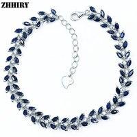 Zhhiry натуральный сапфир драгоценного камня браслет Deep Blue Solid стерлингового серебра для Для женщин Пром Настоящее партии Ювелирные украшения