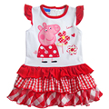 Cute Kid Baby Infant Girls Cartoon Pig Tops Shirt Dress Ruffle Tulle Tutus Cake Dresses Fashion Toddlers Casual Clothes Age 1-6Y