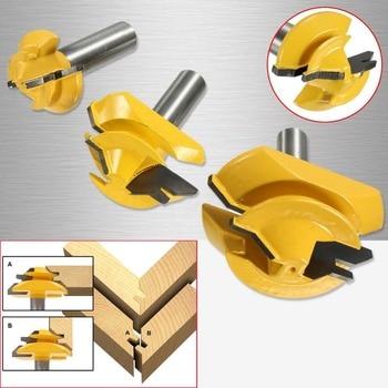 цена на New 3Pcs/Set 1/2 inch Shank Lock Miter Glue Joint Router Bit 45 Degree Woodwork Cutter Set Groove Router Bit Milling Cutter
