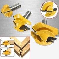 New 3Pcs/Set 1/2 inch Shank Lock Miter Glue Joint Router Bit 45 Degree Woodwork Cutter Set Groove Router Bit Milling Cutter