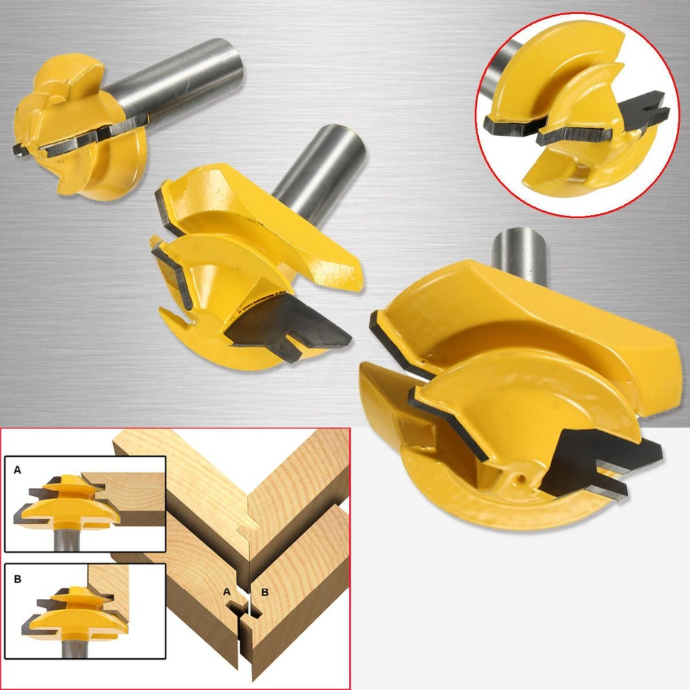 Novo 3 pçs/set 1/2 polegada haste de bloqueio mitra cola conjunta roteador bit 45 graus woodwork cortador conjunto groove roteador bit fresa
