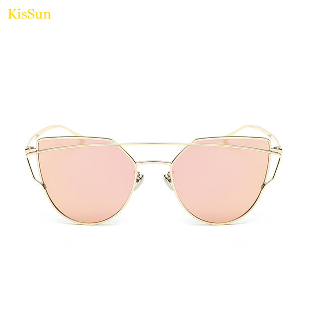 ab767860a Óculos de sol Olho de Gato Mulheres óculos de Sol Espelho Rosa Espelhado  Azul Vermelho Óculos
