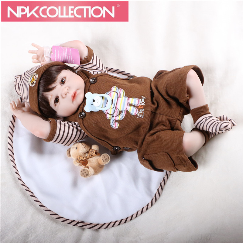 22 full body silicone reborn baby boy dolls brown hair wig magnetic mouth fashion dolls for kids gift bebe bonecas reborn N130