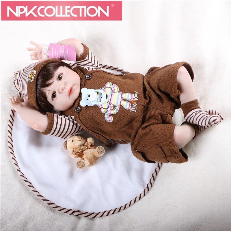 22 full body silicone reborn baby boy dolls brown hair wig magnetic mouth fashion dolls  ...