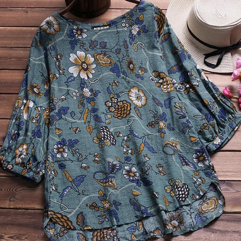 New Spring Blusas Floral Print Women's Linen   Blouses   Casual Female   Blouse     Shirt   Fashion Vintage Ladies   Shirts   Summer Tops 5XL