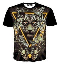 Europe and America Fashion Men women 3d t shirt print Triangle tiger skulls butterfly tshirt