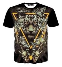 Europe and America Fashion Men/women 3d t shirt print Triangle tiger skulls butterfly tshirt summer tops flowers