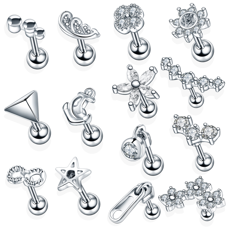 1PC Steel Crystal Flower Ear Cartilage Helix Orelha Ear Stud Tragus Barbell Piercing Labret Lip Rings Sexy Charming Jewelry 16G