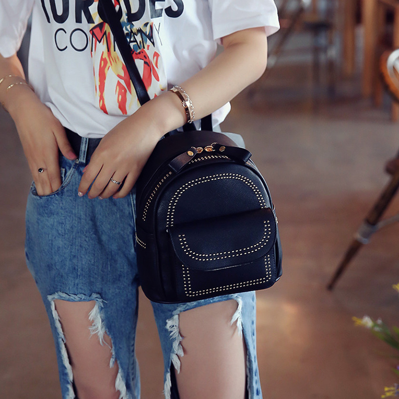 New Design Mini Rivets Backpack For Women Girls 2017 Children School Bag Women Backpack Mochila Escolar Female Rucksack (6)