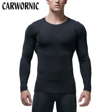 CARWORNIC Fitness Bodybuilding Muscle T-Shirt Mens Long Sleeve Tight Rashguard Compression Top Workout Men