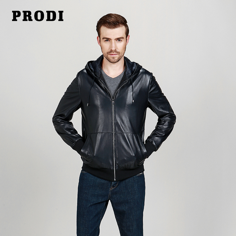 PRODI Men spring genuine leather jacket/casual black dark navy sheepskin jacket with hood leisure clothing outwear men PD1619