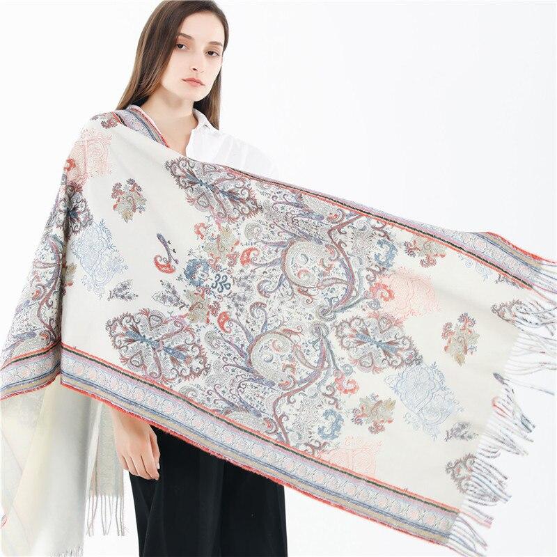 2019 mode Jacquard Frauen Kaschmir Schal Cashew Blume Winter Pashmina Schals Lange Quaste Wrap Schals weibliche stola bufandas