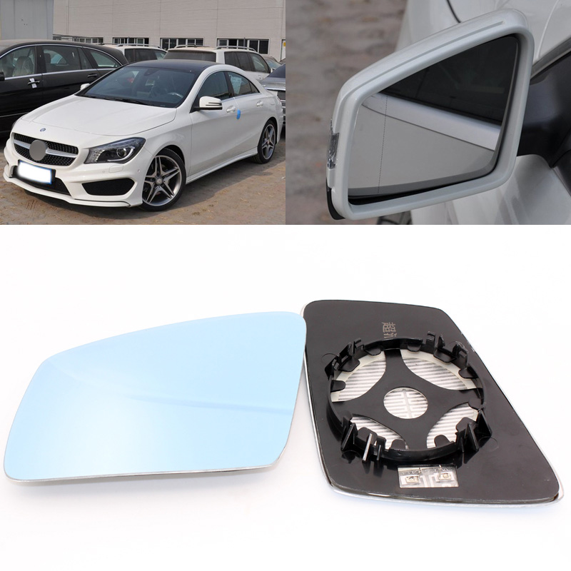 For Mercedes Benz CLA 180 200 <font><b>220</b></font> 250 260 2014-2017 Side View Door Mirror Blue Glass With Base Heated 1 Pair image