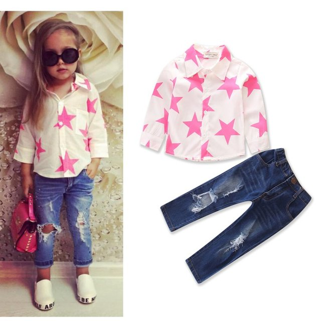 5fef279fb6f72 Infant Toddler Kids Baby Girls Long Sleeve T-shirt Ripped Jeans Clothing  Distressed Pant Star