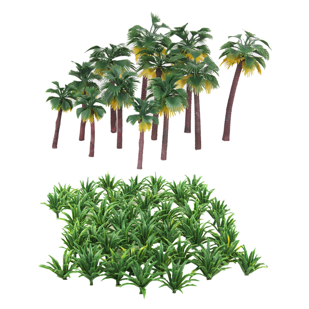 MagiDeal High Simulation 62Pcs/Lot Green Scenery Railroad Train Layout Model Tree Landscape Sword Grass&Palm For Building Models