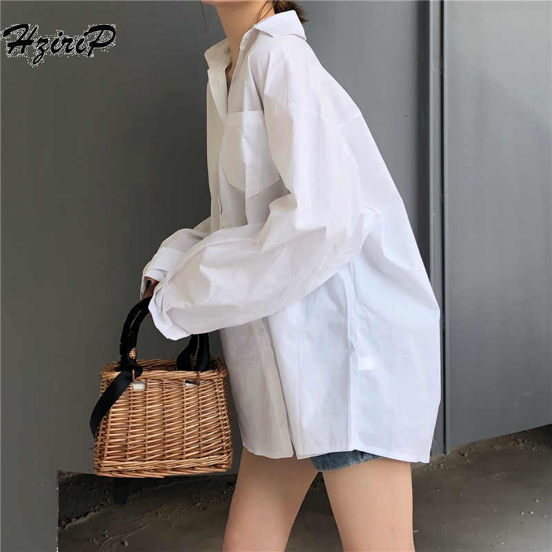 Hzirip 2019 Women Summer Autumn Women's Blouse  Sunscreen Solid White Button Shirt Long Sleeve Casual Lose Shirt For Female